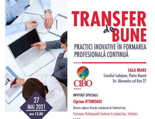 CIBO 27 mai 2021: Transfer de bune practici inovative în Formarea Profesională Continuă